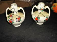 PAIR VINTAGE DECO SHELLEY CHINA 2 HANDLED VASES STYLISED FRUIT 8574 PART LUSTRE